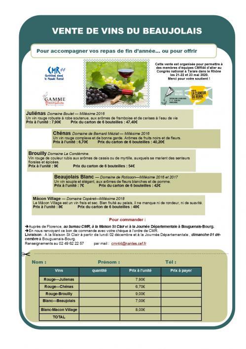 Commande de vins congres